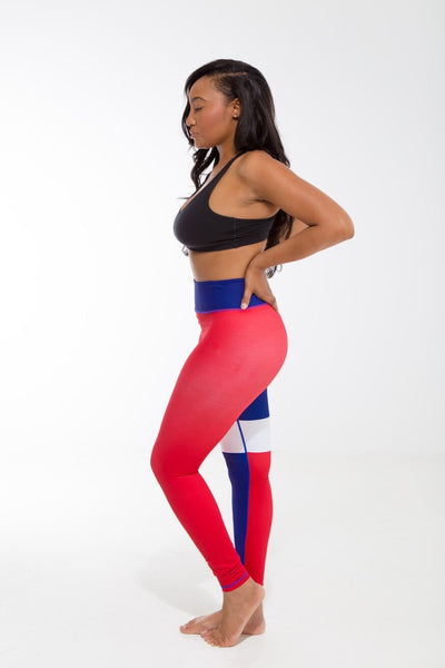 Dominican Republic Flag Patterned Leggings | Island Printed Leggings Caribbean Clothes