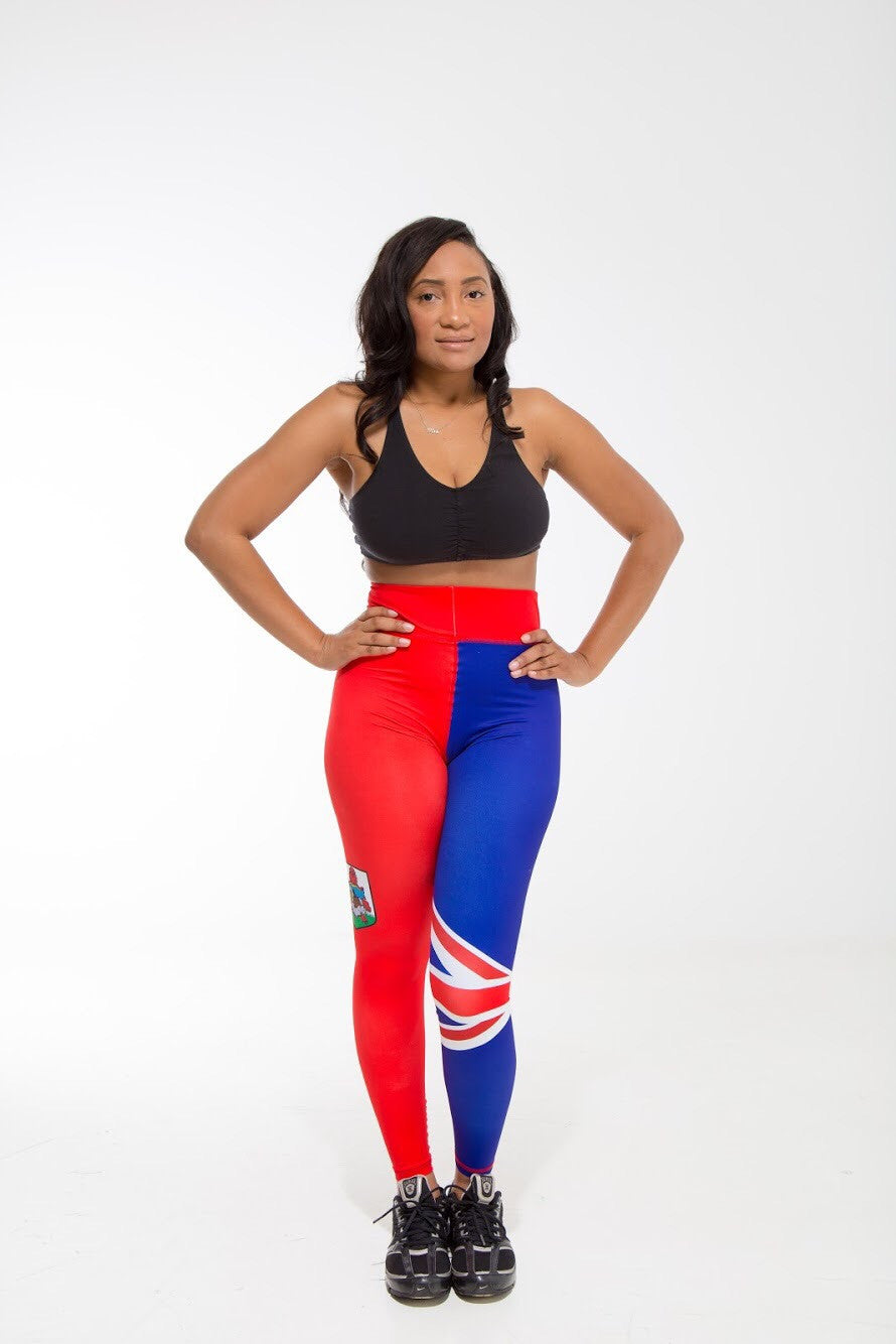 Bermuda Flag Printed Leggings | Island Printed Leggings Caribbean Clothing