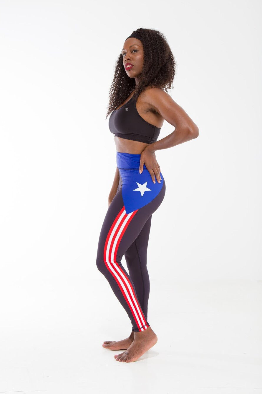 Puerto Rico-Black Flag Printed Leggings | Island Printed Leggings Caribbean Clothing