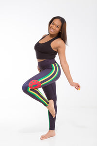 Dominica Flag Printed Leggings | Island Printed Leggings Caribbean Clothing