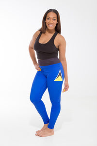 St. Lucia Flag Printed Leggings | Island Printed Leggings Caribbean Clothing