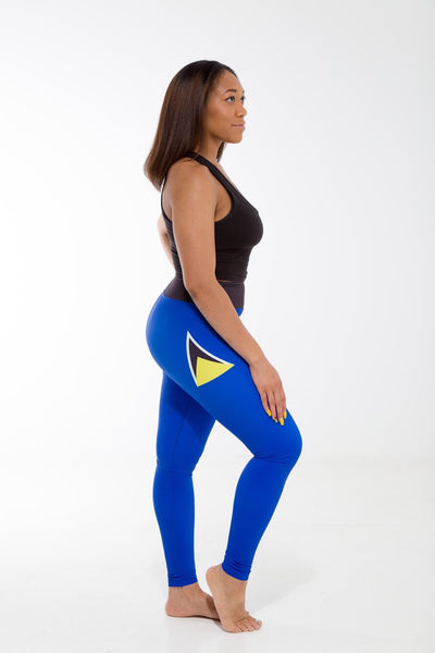 St. Lucia Flag Print Leggings | Island Printed Leggings Caribbean Fashion