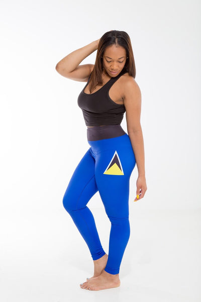 St. Lucia Flag Designer Leggings | Island Printed Leggings Caribbean Apparel
