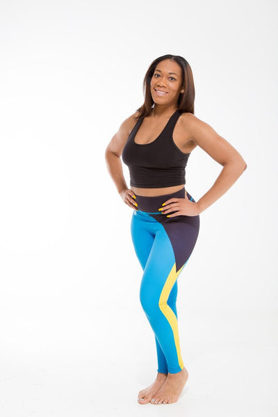 Bahamas Flag Print Leggings | Island Printed Leggings Caribbean Fashion