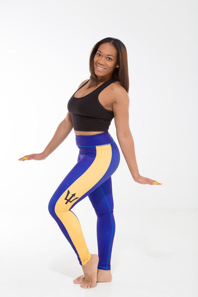 Barbados Flag Designer Leggings | Island Printed Leggings Caribbean Apparel