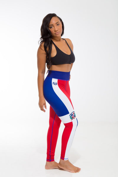 Dominican Republic Flag Print Leggings | Island Printed Leggings Caribbean Fashion