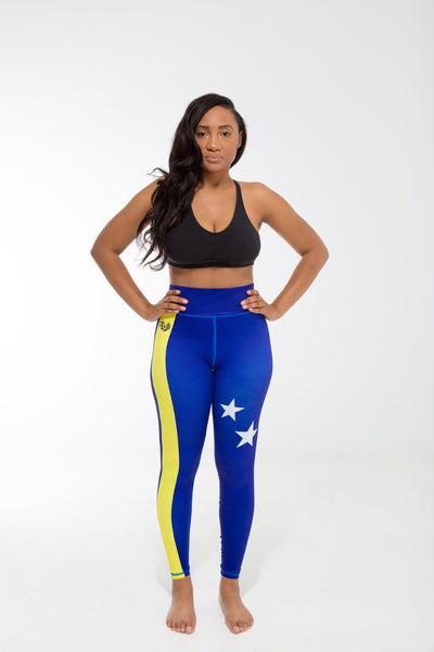 Curaçao Flag Printed Leggings | Island Printed Leggings Caribbean Clothing