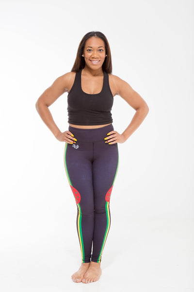 Dominica Flag Print Leggings | Island Printed Leggings Caribbean Fashion
