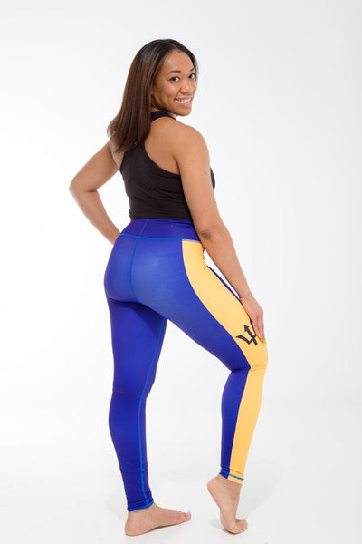 Barbados Flag Print Leggings | Island Printed Leggings Caribbean Fashion