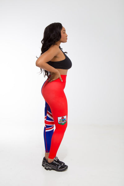 Bermuda Flag Designer Leggings | Island Printed Leggings Caribbean Apparel