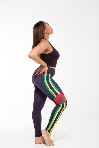 Dominica Flag Patterned Leggings | Island Printed Leggings Caribbean Clothes