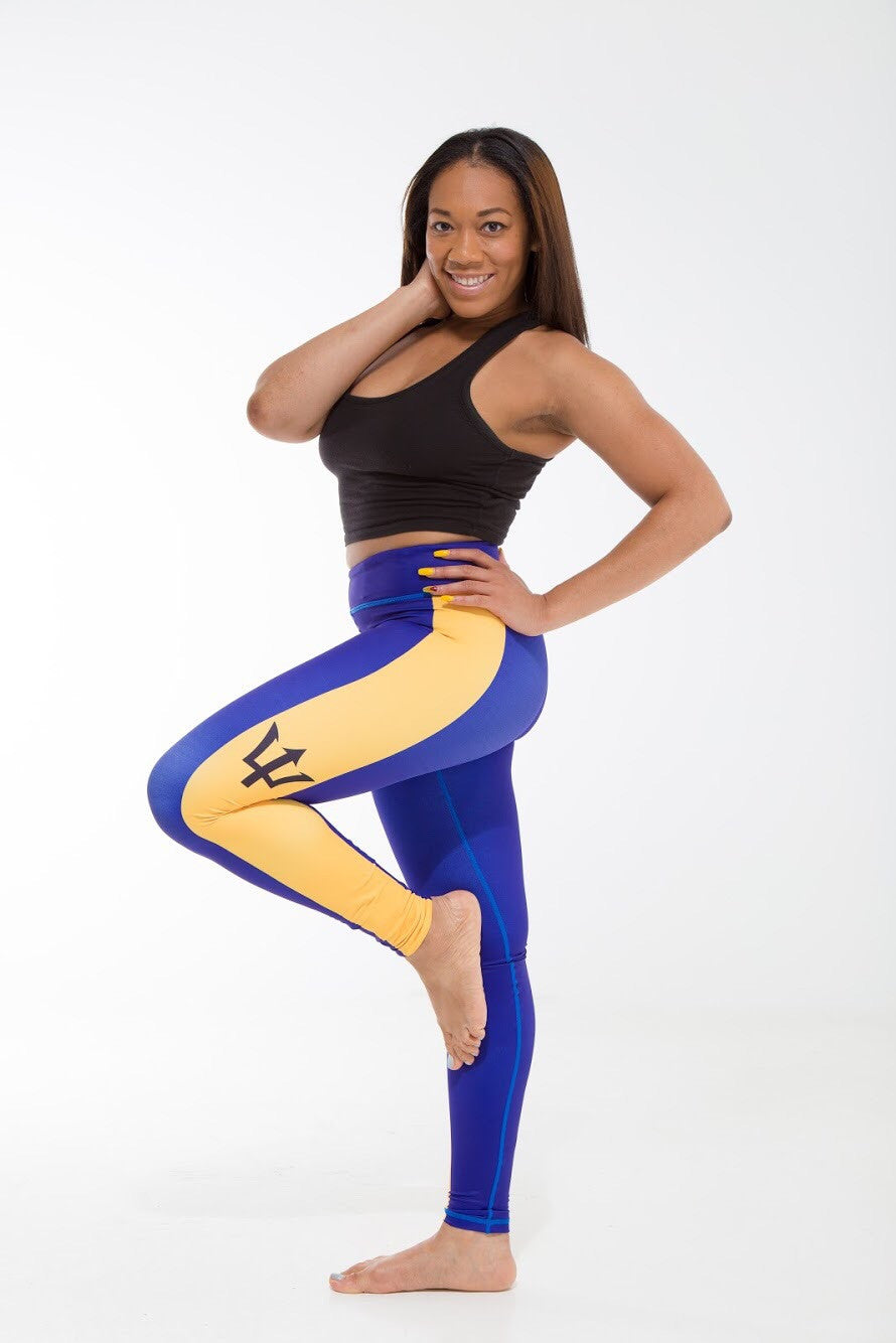 Barbados Flag Printed Leggings | Island Printed Leggings Caribbean Clothing