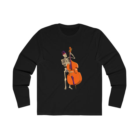 Men's Halloween skeleton double bass long sleeve shirt