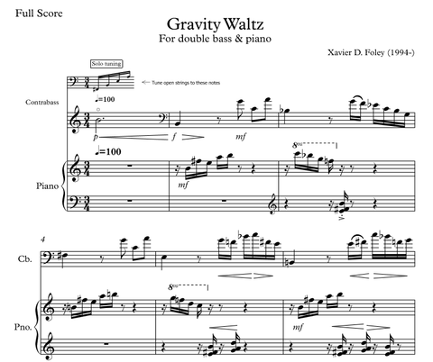 Gravity Waltz for double bass and piano
