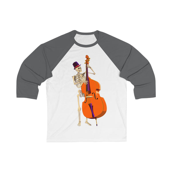 Black & white Halloween double bass skeloten long sleeve shirt.
