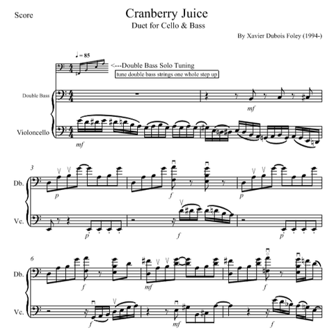 Cranberry Juice for Cello and Bass