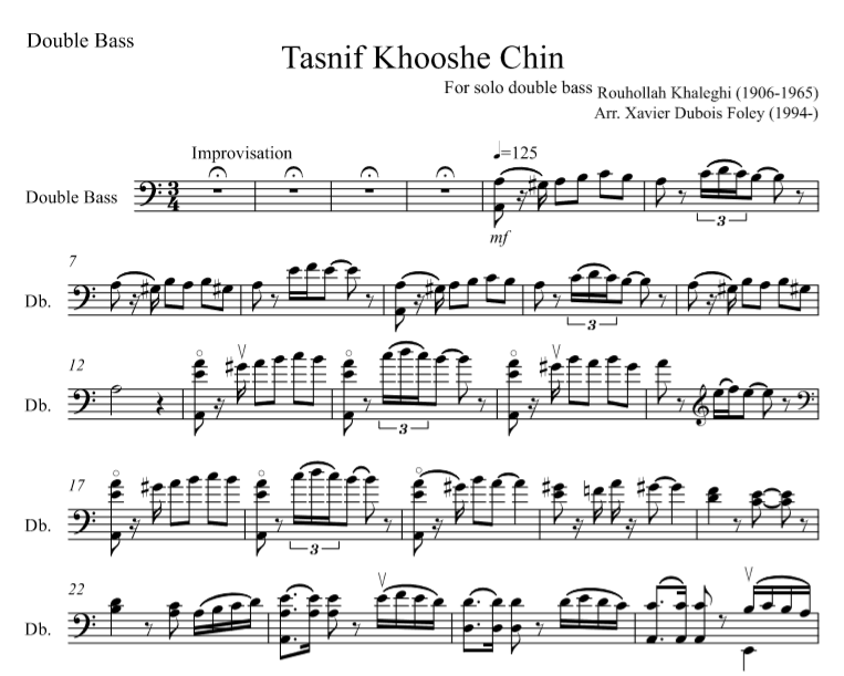 روح الله خالقی به عنوان خالق (Tansif Khooshe Chin) for SOLO double bass