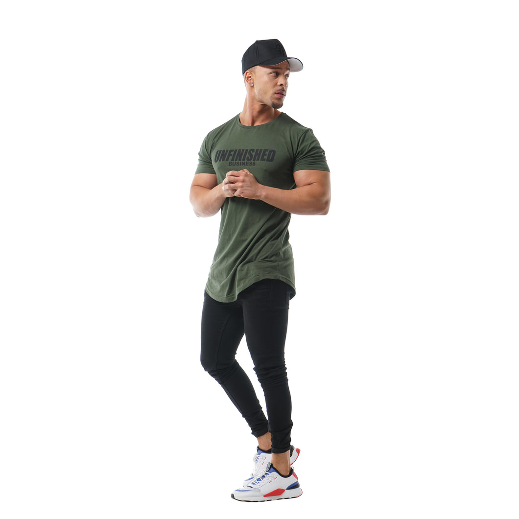 S2 Army Green Unfinished Business Curved Hem Tee