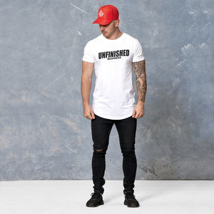 S2 White Unfinished Business Curved Hem Tee