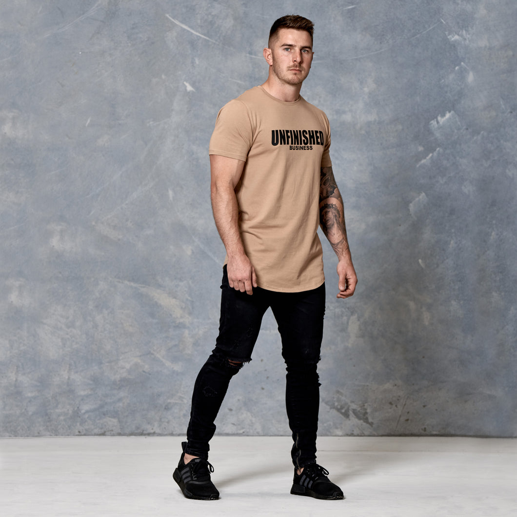 S2 Desert Sand Unfinished Business Curved Hem Tee