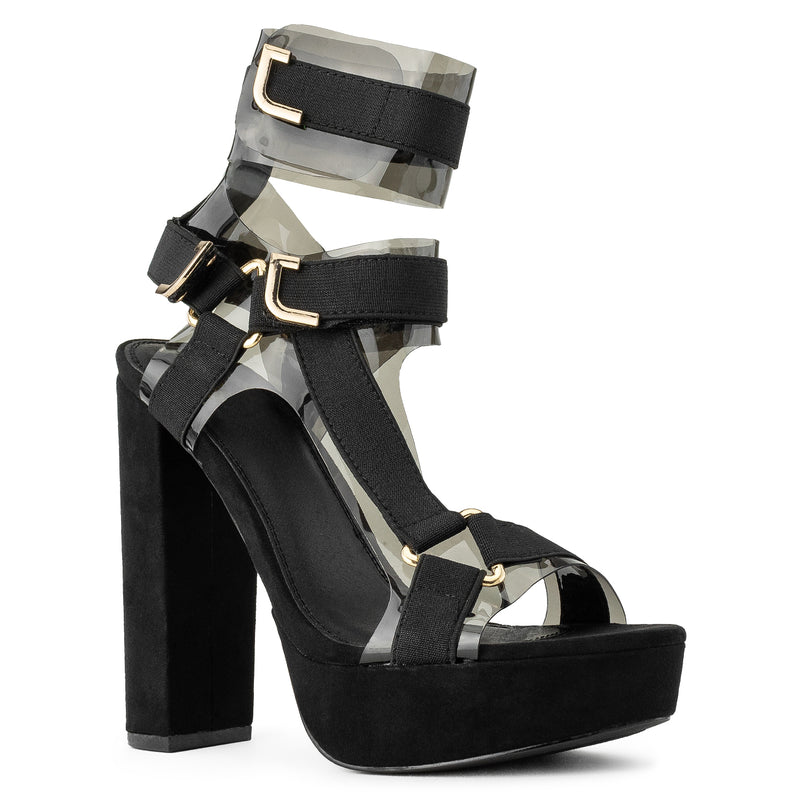 7ba4be2fa7497 Caged Clear Strap Harness Chunky Platform High Heel Dress Pumps Sandals