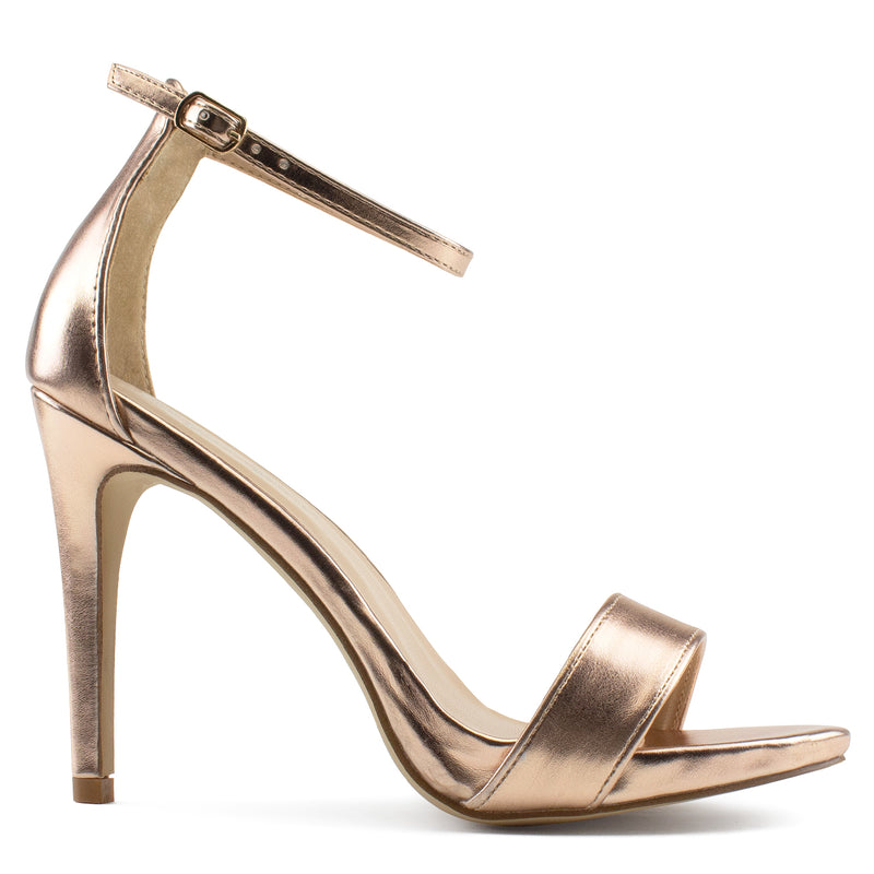 Ankle Strap High Stiletto Evening Dress Pump Heel Sandals ROSEGOLD