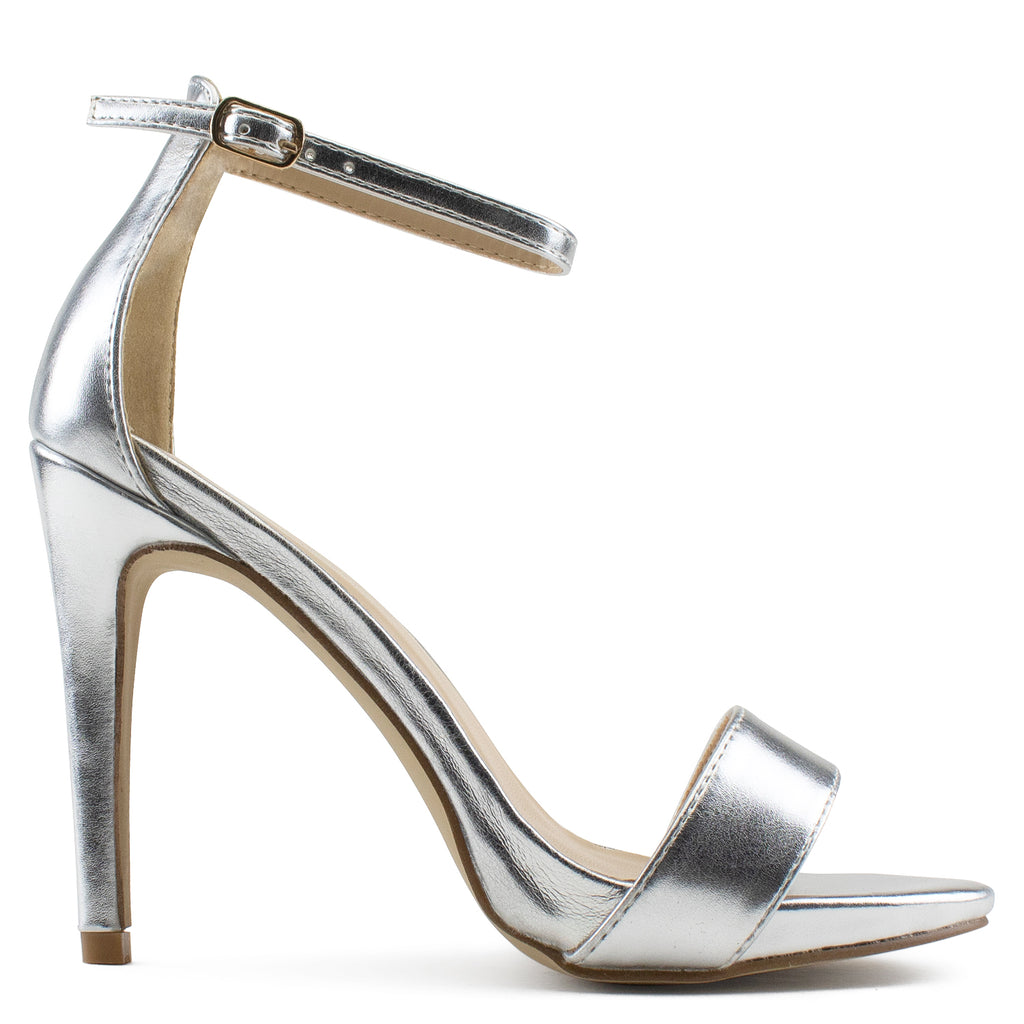 Ankle Strap High Stiletto Evening Dress Pump Heel Sandals SILVER
