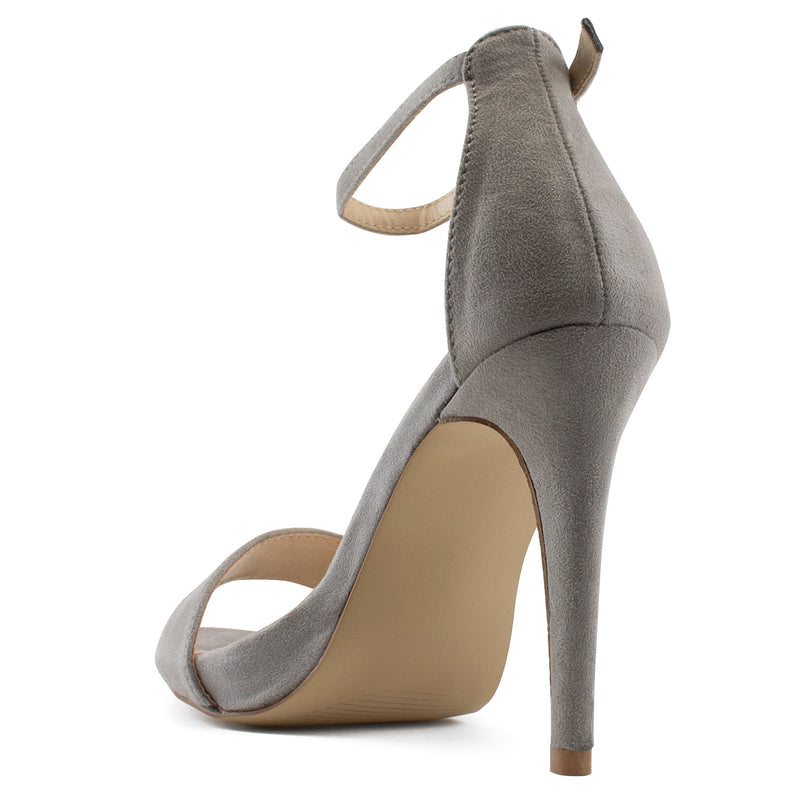 Ankle Strap High Stiletto Evening Dress Pump Heel Sandals GREY SU