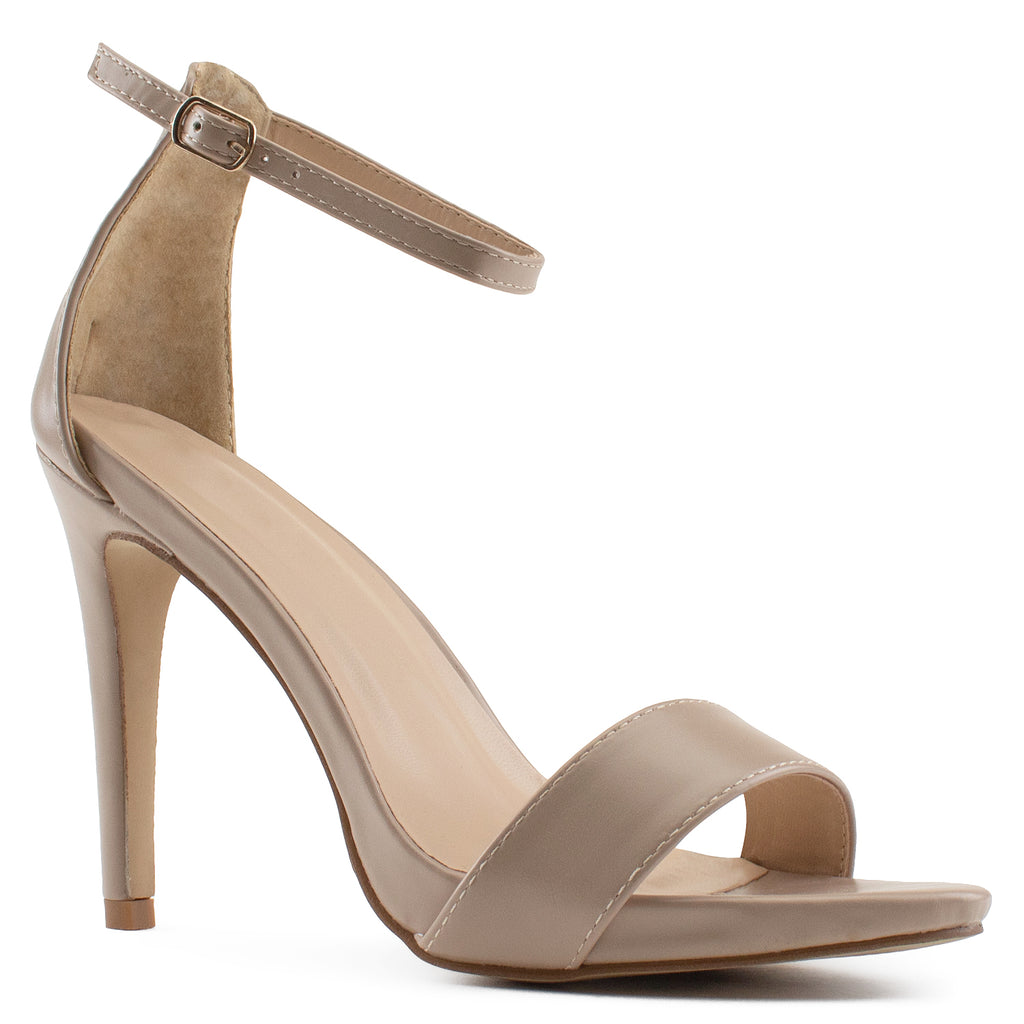 Ankle Strap High Stiletto Evening Dress Pump Heel Sandals NUDE PU