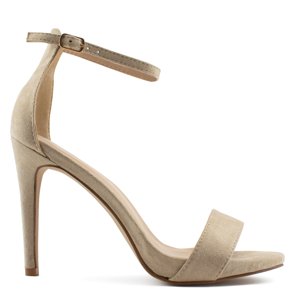 Ankle Strap High Stiletto Evening Dress Pump Heel Sandals TAUPE SU
