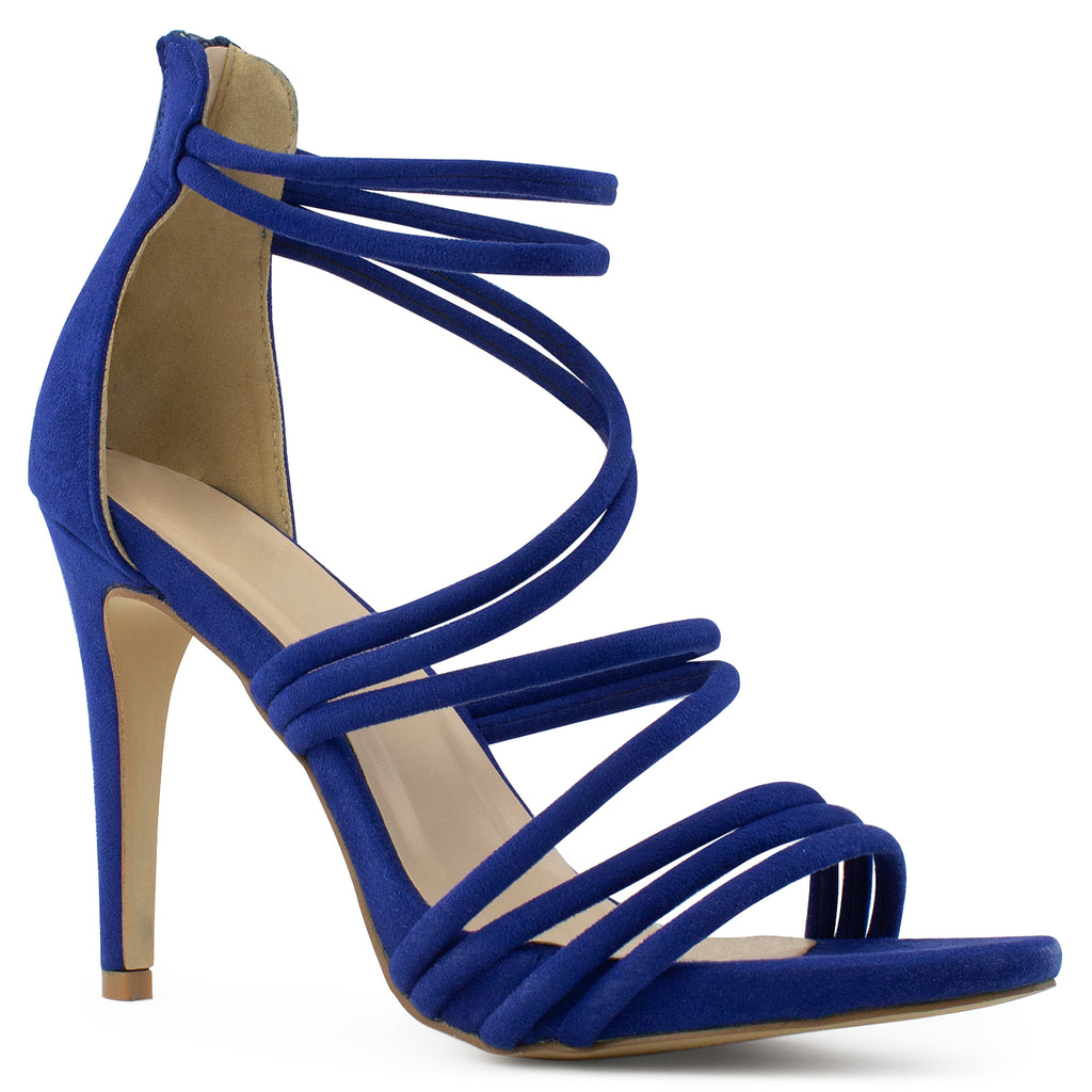Open Toe Strappy Back Zip Stiletto Heel Dress Sandal Pumps BLUE