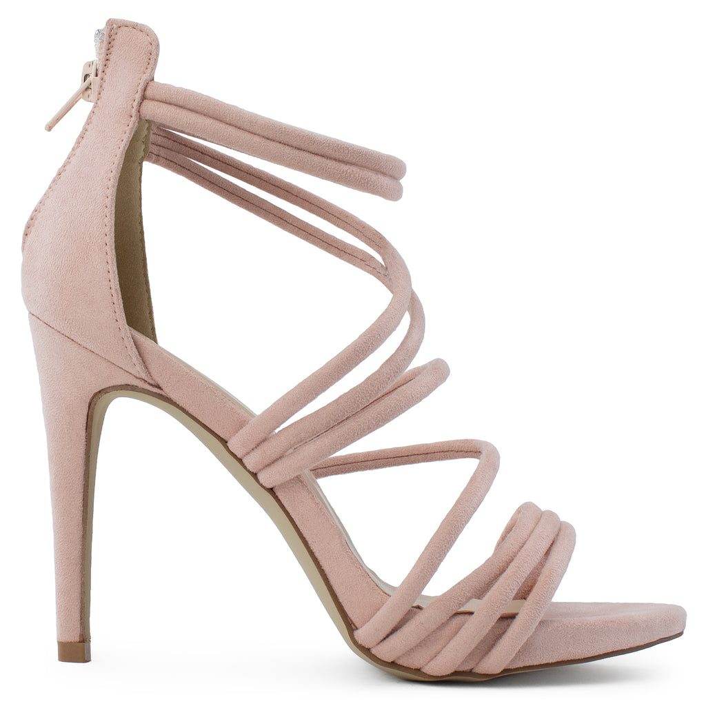 Open Toe Strappy Back Zip Stiletto Heel Dress Sandal Pumps BLUSH