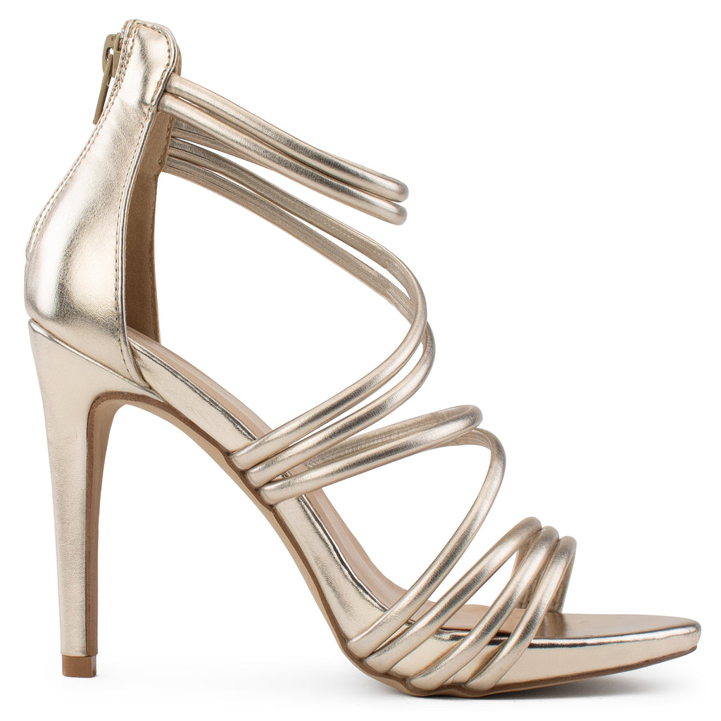Open Toe Strappy Back Zip Stiletto Heel Dress Sandal Pumps GOLD