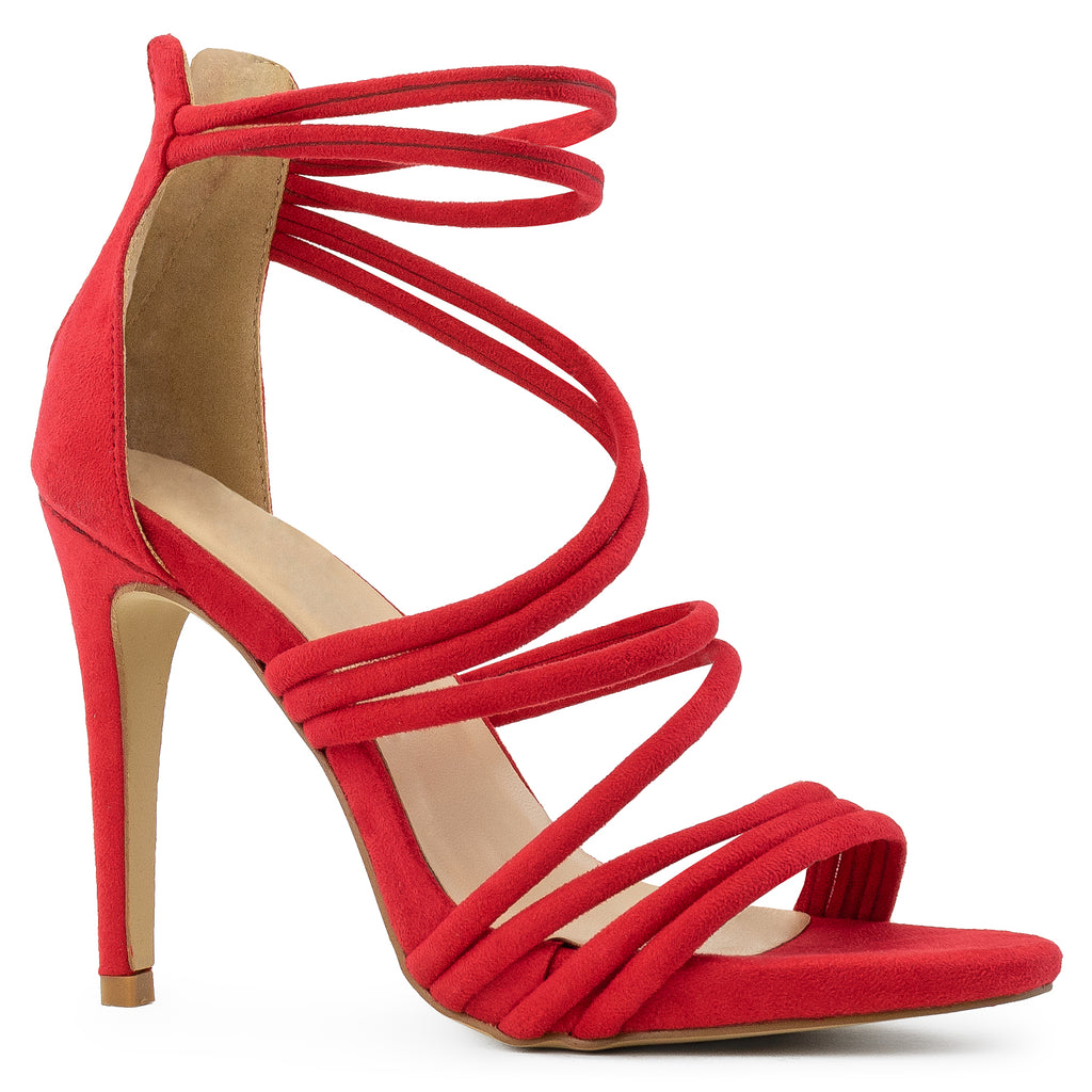 Open Toe Strappy Back Zip Stiletto Heel Dress Sandal Pumps RED