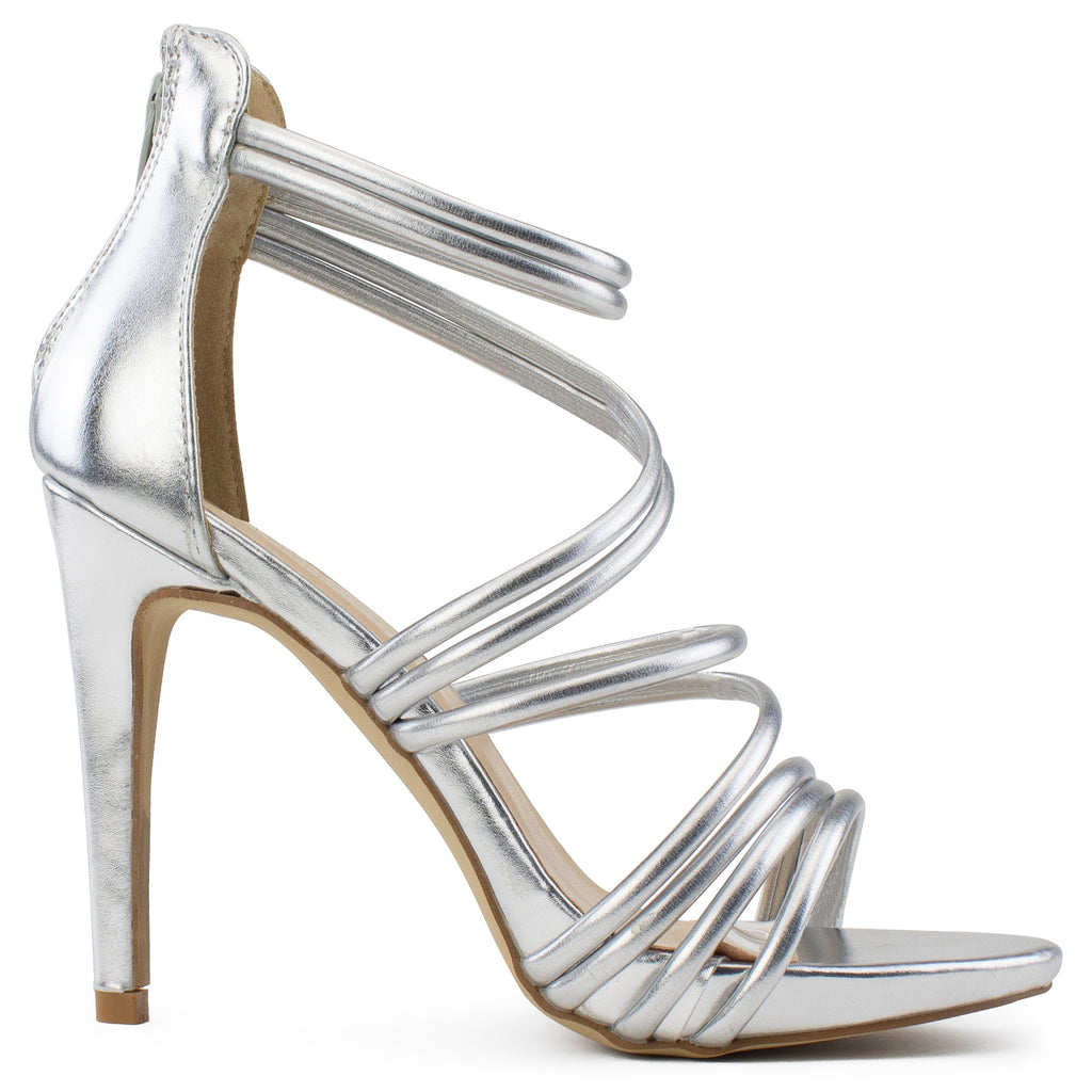 Open Toe Strappy Back Zip Stiletto Heel Dress Sandal Pumps SILVER