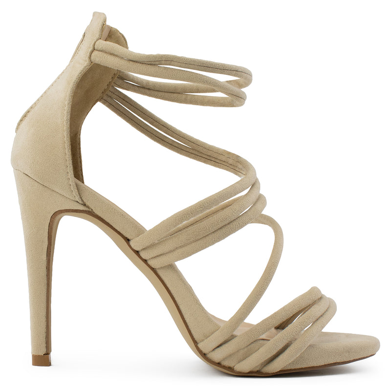 Open Toe Strappy Back Zip Stiletto Heel Dress Sandal Pumps TAUPE