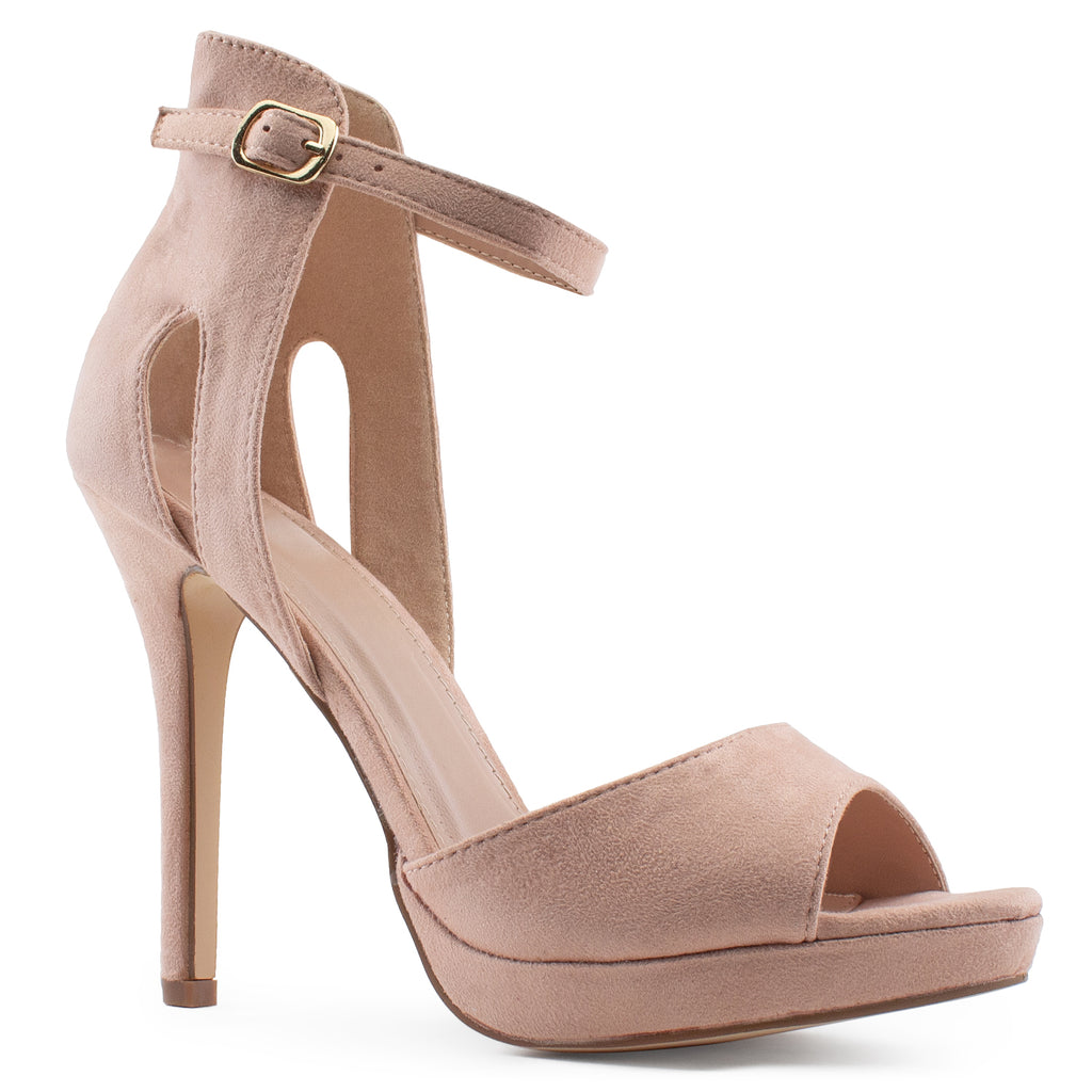 Side Cutout High Stiletto Evening Dress Pump Heel Sandals BLUSH