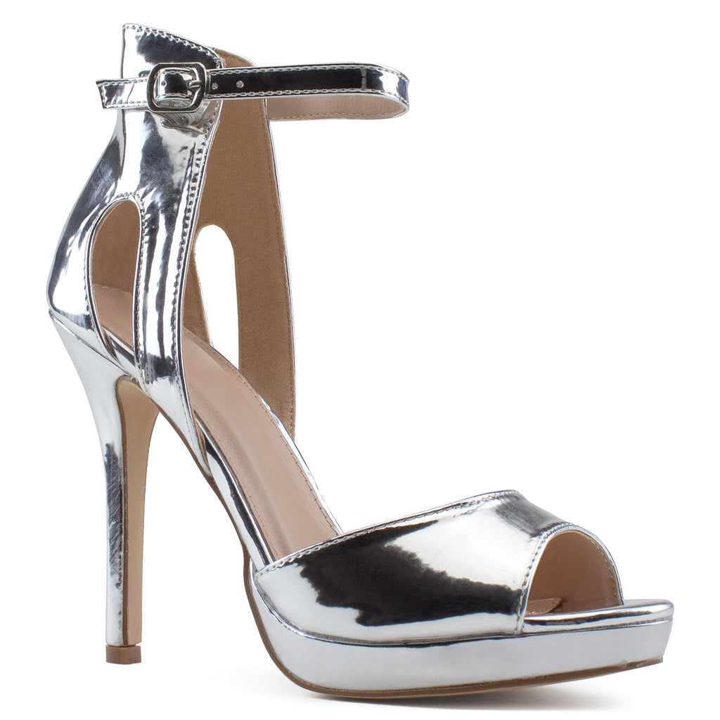 Side Cutout High Stiletto Evening Dress Pump Heel Sandals SILVER METALLIC