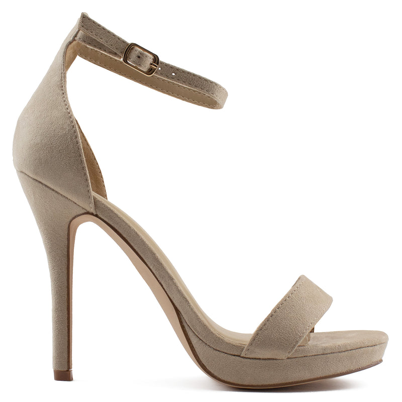 Women's Darla High Stiletto Evening Dress Pump Heel Sandals BEIGE