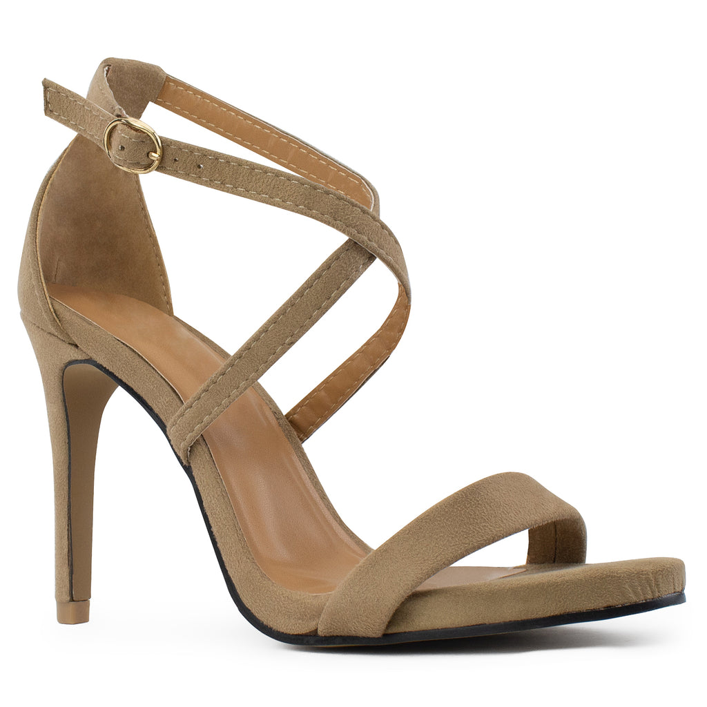 Open Toe Criss Cross Ankle Strap Stiletto Heel Dress Sandal Pumps BEIGE