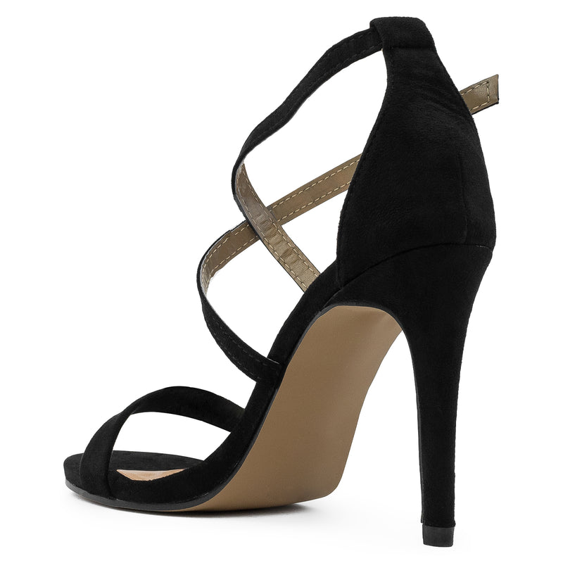 Open Toe Criss Cross Ankle Strap Stiletto Heel Dress Sandal Pumps BLACK SUEDE