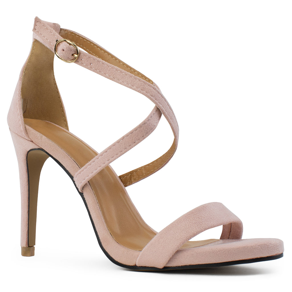 Open Toe Criss Cross Ankle Strap Stiletto Heel Dress Sandal Pumps BLUSH