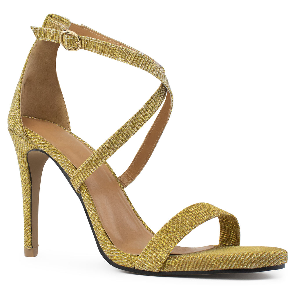 Open Toe Criss Cross Ankle Strap Stiletto Heel Dress Sandal Pumps GOLD