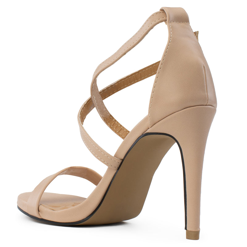 Open Toe Criss Cross Ankle Strap Stiletto Heel Dress Sandal Pumps NUDE PU
