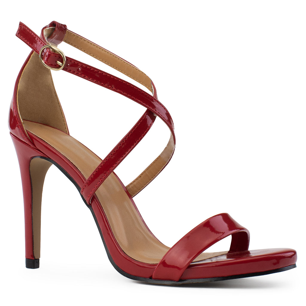 Open Toe Criss Cross Ankle Strap Stiletto Heel Dress Sandal Pumps RED PATENT