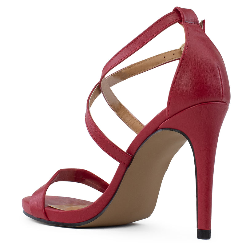 Open Toe Criss Cross Ankle Strap Stiletto Heel Dress Sandal Pumps RED PU