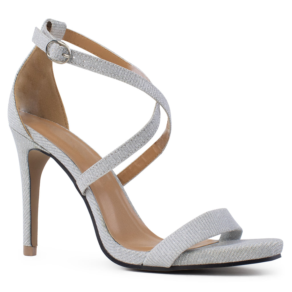 Open Toe Criss Cross Ankle Strap Stiletto Heel Dress Sandal Pumps SILVER