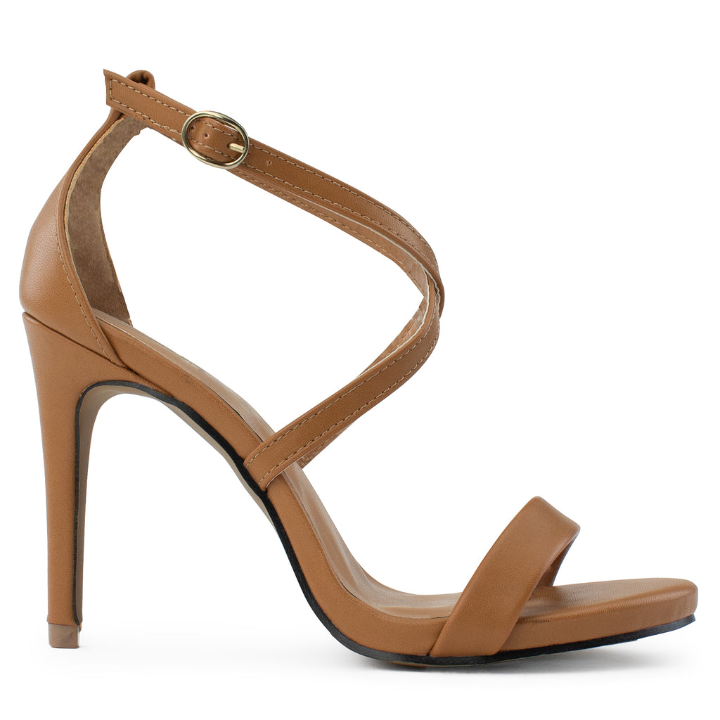 Open Toe Criss Cross Ankle Strap Stiletto Heel Dress Sandal Pumps TAN
