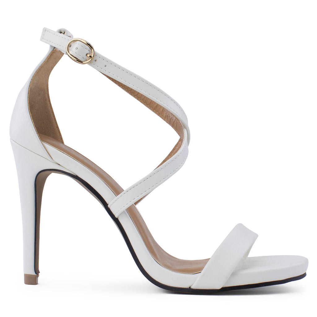 Open Toe Criss Cross Ankle Strap Stiletto Heel Dress Sandal Pumps WHITE