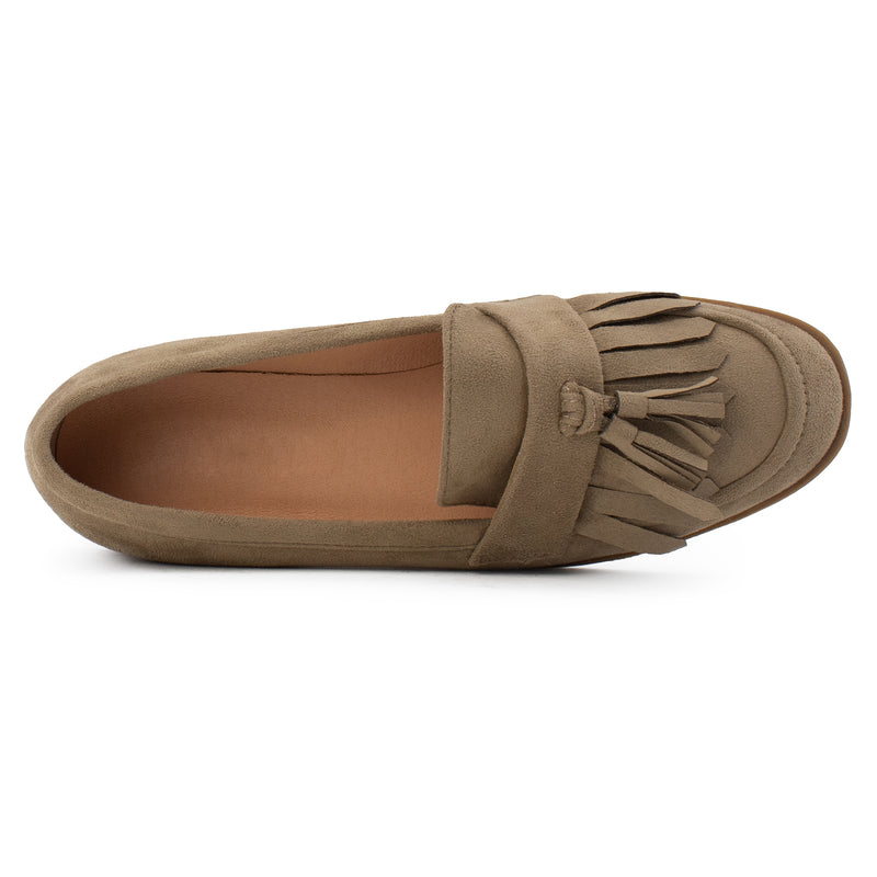 Women's Square Toe Loafer Moccasin Comfortable Work Flats BEIGE